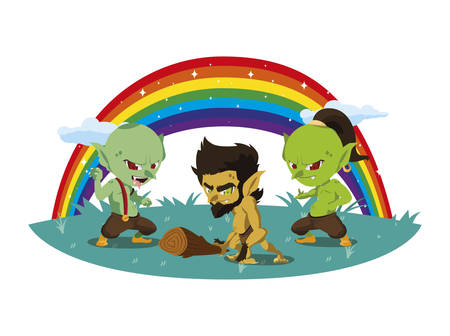ugly trolls with caveman gnome and rainbow scene vector illustration