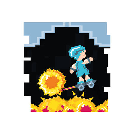 video game avatar pixelated with skateboard vector illustration design  イラスト・ベクター素材
