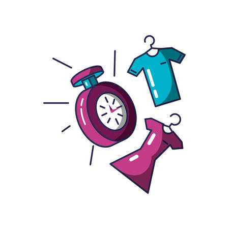 chronometer time with clothing hanging vector illustration design