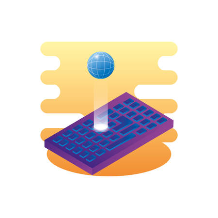 sphere planet browser with keyboard vector illustration design