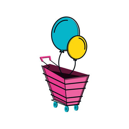 shopping cart with balloons helium vector illustration design  イラスト・ベクター素材