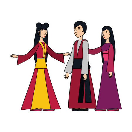 group of people chinese avatar character vector illustration design