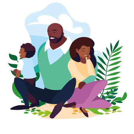 afro parents with son family in scene natural vector illustration design