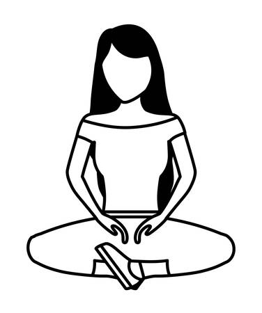 young woman sitting avatar character vector illustration design