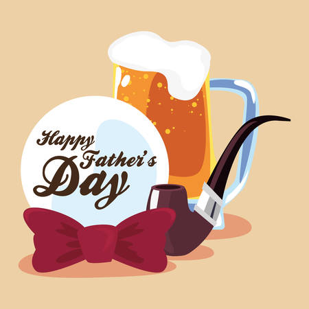 beer pipe bowtie badge happy fathers day vector illustration