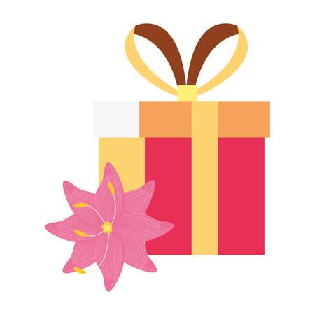 gift box flower white background vector illustration