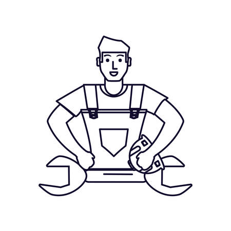 worker construction man with wrench tool vector illustration design Иллюстрация