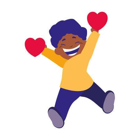 smiling boy holding heart love vector illustration