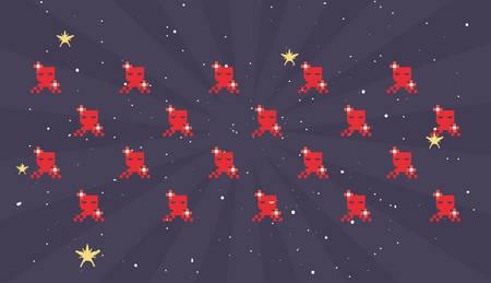 spaceship battle pixel background video game retro vector illustration