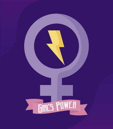 girl power card with gender female symbol vector illustration design