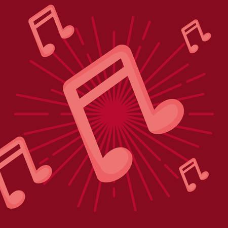 Musiknoten über rotem Hintergrund, farbenfrohes Design. Vektor-Illustration Vektorgrafik
