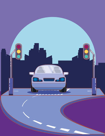 car on the road and street lights over purple background, colorful design. vector illustration