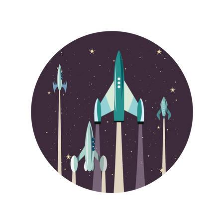 launching rocket spaceships mission vector illustration design Illustration