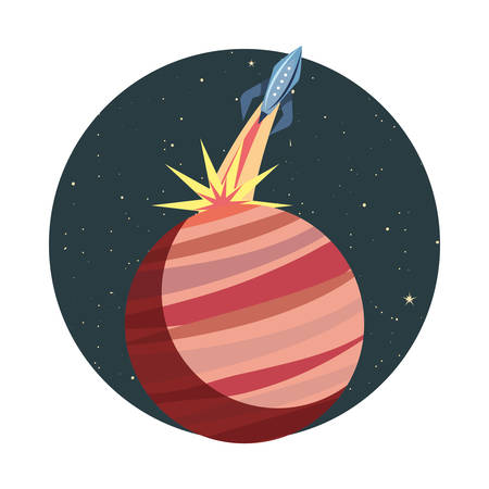 launcher rocket with planet space vector illustration design Zdjęcie Seryjne - 129472500