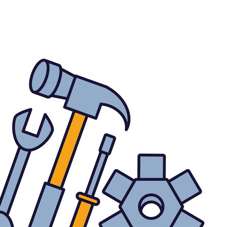 wrench with hammer and screwdriver vector illustration design