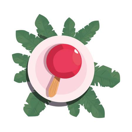 summer time holiday badge foliage tropical vector illustration Çizim