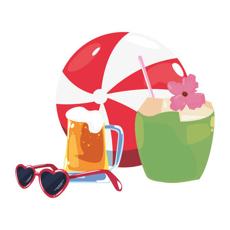 summer time holiday cocktail ball coconut beer sunglasses   vector illustration