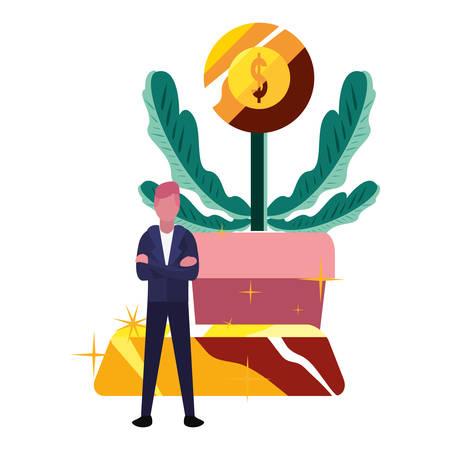 businessman money plant coin gold bar vector illustration Banque d'images - 129472628