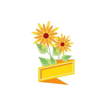 natural beauty flowers with ribbon vector illustration design