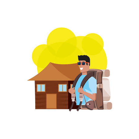 traveler man with travel bag and log cabin vector illustration design