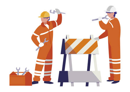couple of men builders working with fence signal vector illustration design