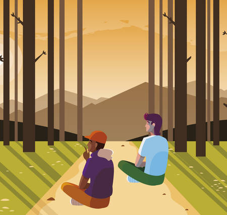 men couple contemplating horizon in the forest scene vector illustration design Иллюстрация
