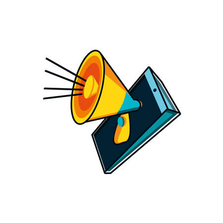 megaphone with smartphone device vector illustration design  イラスト・ベクター素材