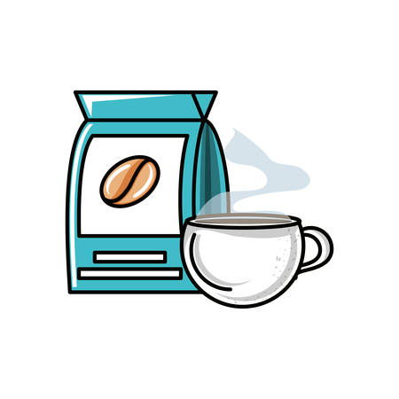 bag and cup coffee isolated icon vector illustration design