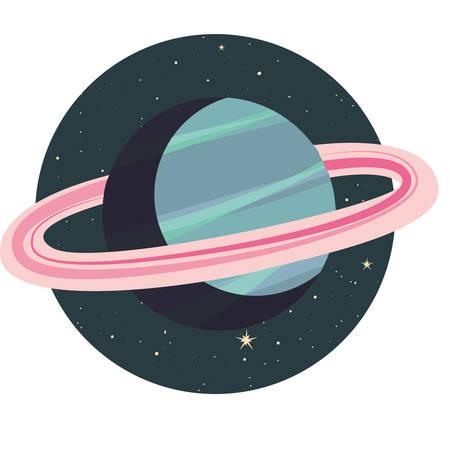 system solar planet galaxy icon vector illustration