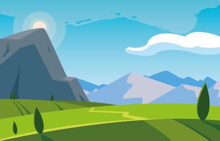 landscape mountainous scene icon vector illustration design Illusztráció