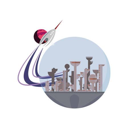 launching rocket city future space vector illustration design