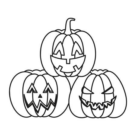 cartoon halloween pumpkins over white background, vector illustration