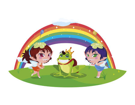 beautiful magic fairies with toad prince and rainbow scene vector illustration design