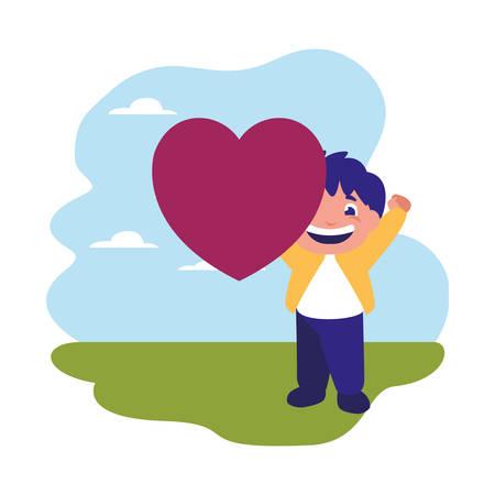 smiling boy holding heart love outdoors vector illustration Illusztráció