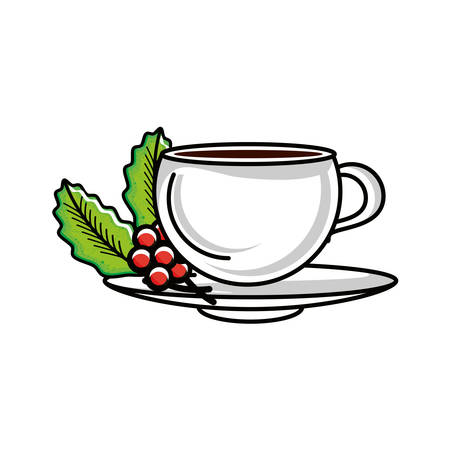 cup with plant of coffee vector illustration design