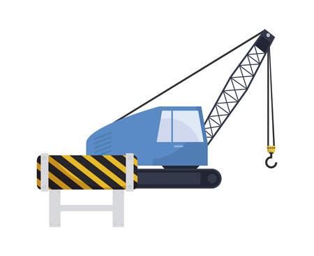 under construction crane truck with signaling vector illustration design Stock fotó - 129479902