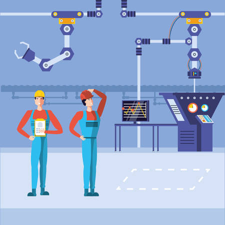 industrial workers in technified factory vector illustration design  イラスト・ベクター素材