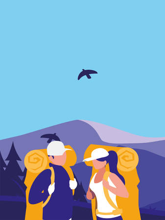 young couple in mountains landscape scene vector illustration design