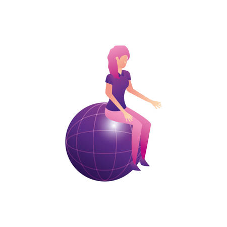 businesswoman worker seated in sphere browser vector illustration design  イラスト・ベクター素材