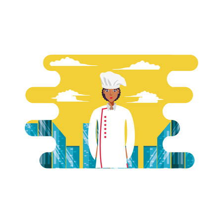 professional chef female with cityscape vector illustration design