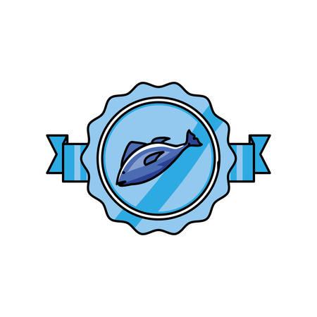 fresh fish food seal stamp vector illustration design