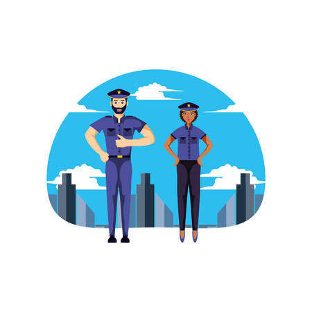 police officer couple with cityscape vector illustration design Archivio Fotografico - 129589778