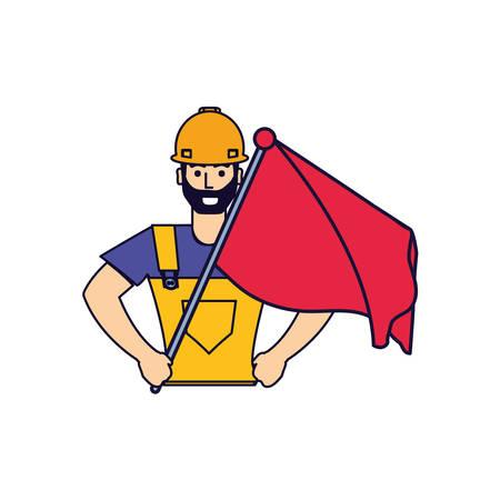 worker construction man with flag vector illustration design Иллюстрация
