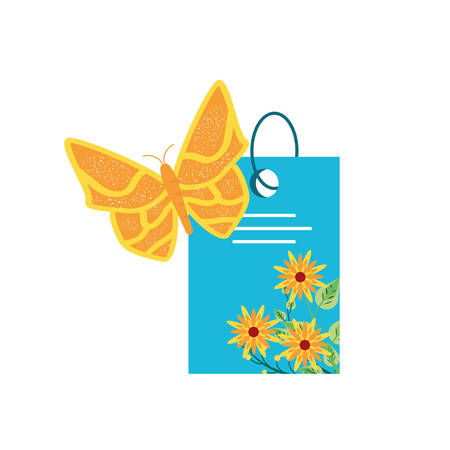tag with flowers and beautiful butterfly vector illustration design