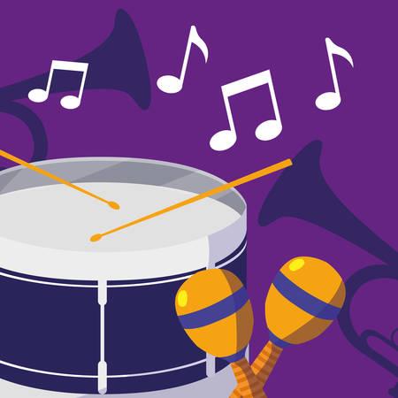 drum and maracas instruments musical vector illustration design Illustration