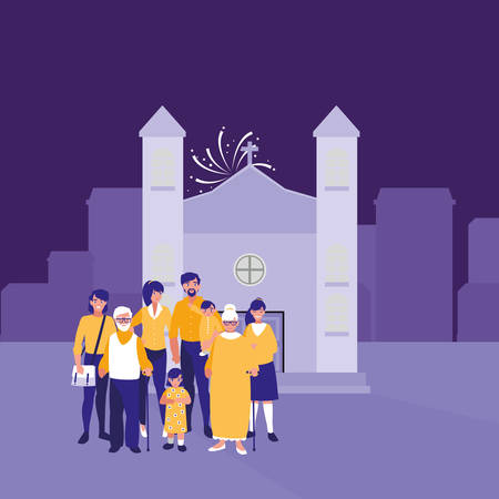 family together in the city background vector illustration Illustration