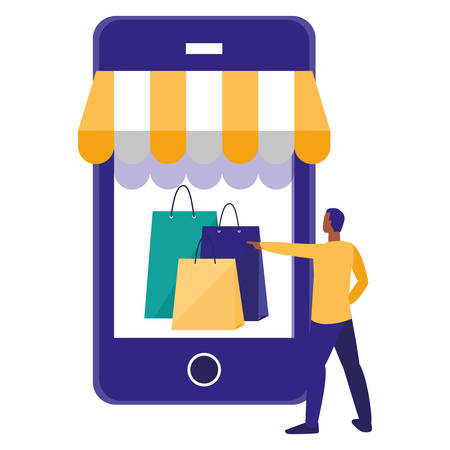 young man using smartphone with shopping bag vector illustration design Illusztráció