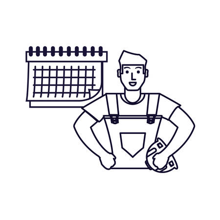 worker construction man with calendar reminder vector illustration design Иллюстрация