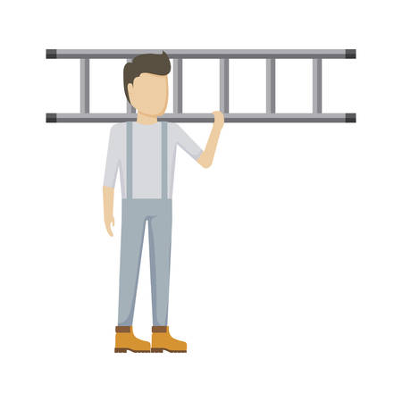 worker construction man with stairs vector illustration design