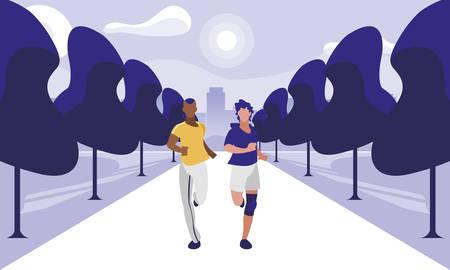athletic interracial men running in the park vector illustration design Ilustracja